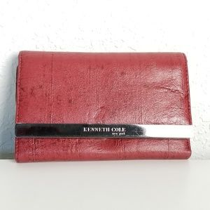 Kenneth Cole Womens Red Leather tri Fold Wallet